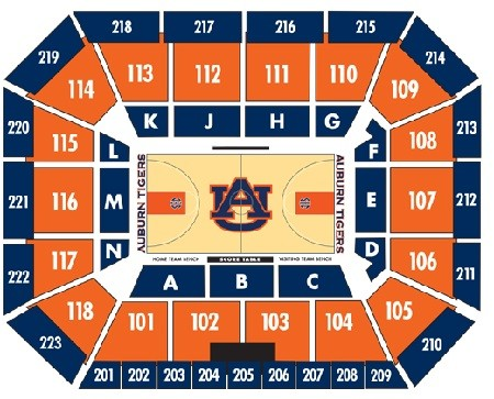 Auburn Tigers Mens Basketball Seating Chart