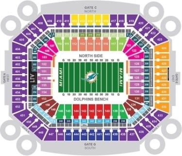 Miami dolphins seating chart sports trips