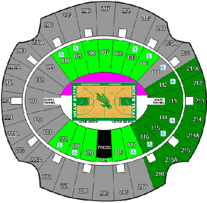 North Texas Mean Grean Basketball Seating Chart_