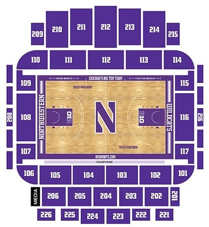 Northwestern Wildcats Basketball Seating Chart
