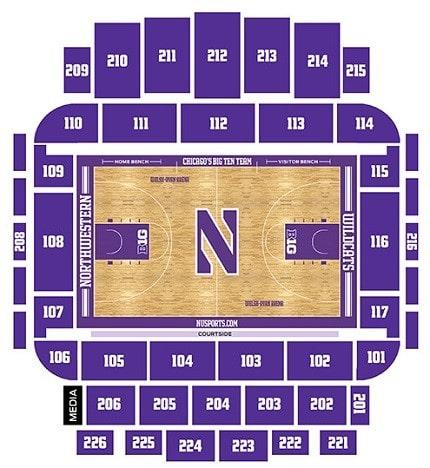 Northwestern Wildcats Basketball Seating Chart