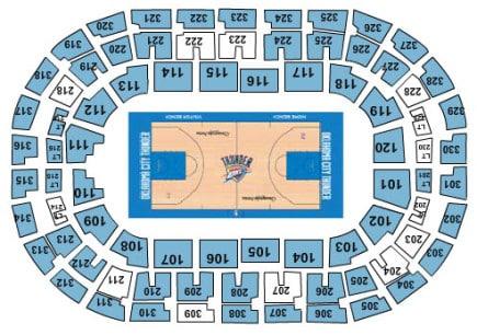 Oklahoma city thunder seating chart sports trips