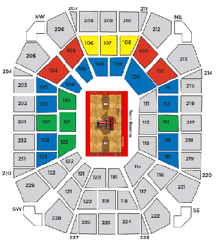 Texas Tech Red Raiders Baketball Seating Chart