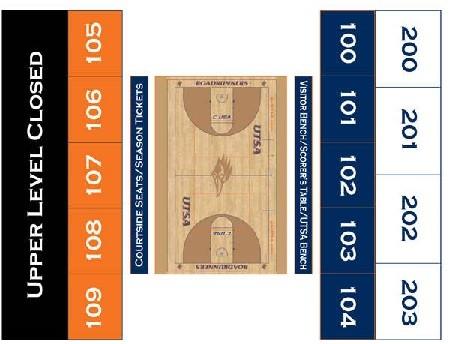 UTSA Roadrunner Basketball Seating Chart_