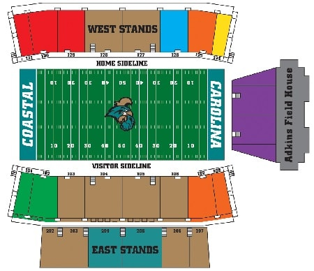 Coastal Carolina Chanticleers Football Tickets - Choose your own seats!